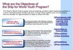what are the objectives of the ship for world youth program