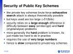 security of public key schemes