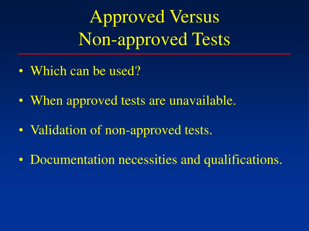 Approved Versus