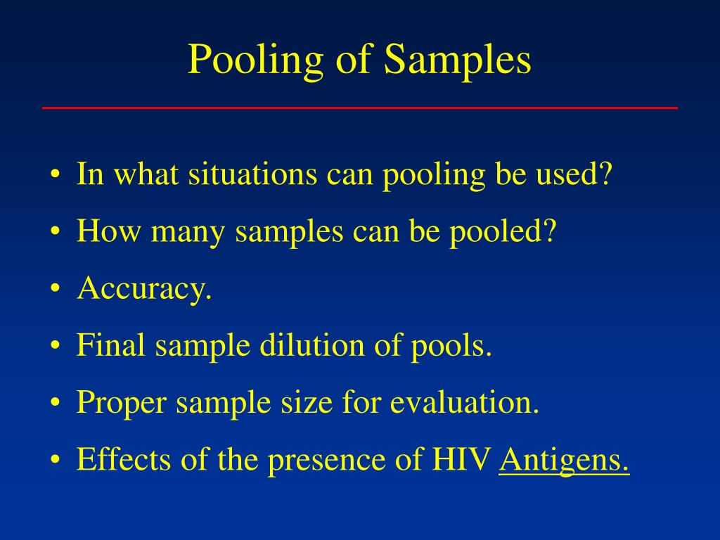 Pooling of Samples