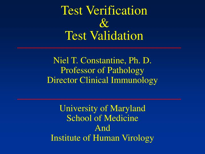 Test verification test validation