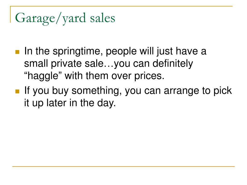 Garage/yard sales