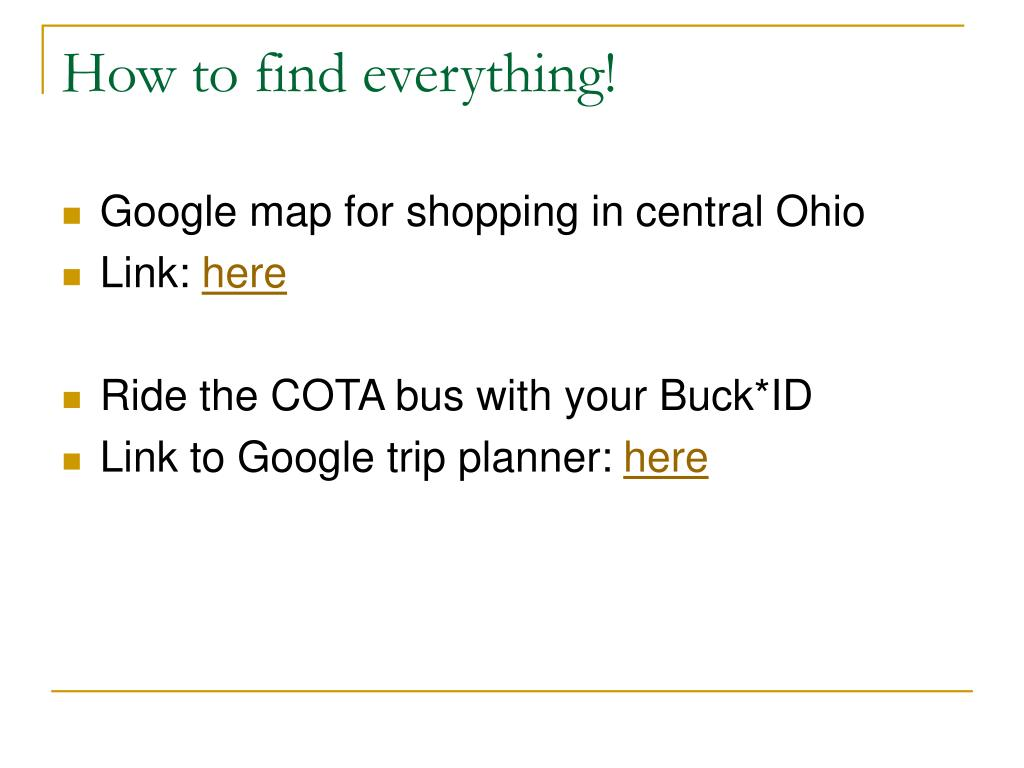 How to find everything!