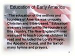 education of early america