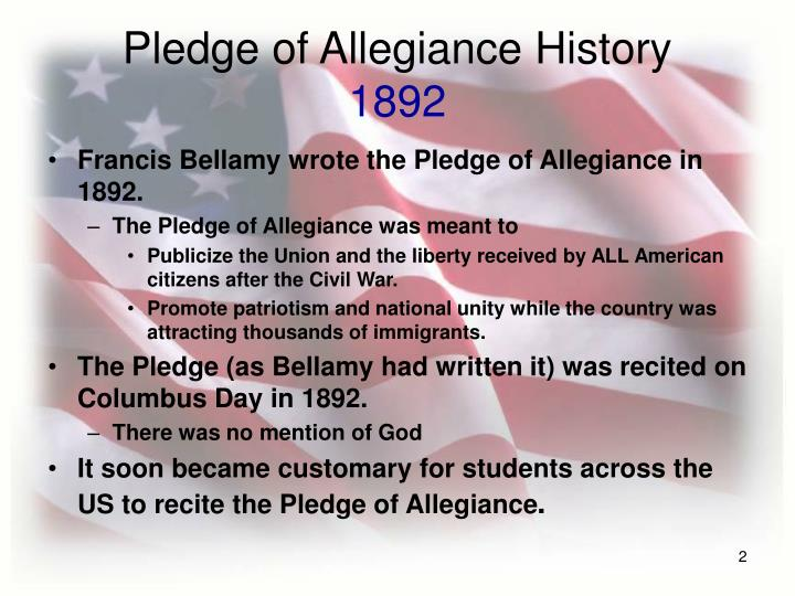 Pledge of allegiance history 1892
