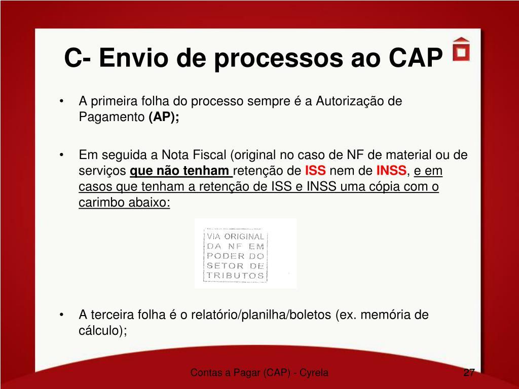 C- Envio de processos ao CAP