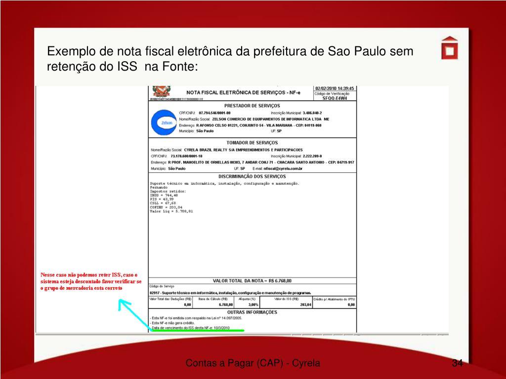 Exemplo de nota fiscal eletrônica da prefeitura de Sao Paulo sem retenção do ISS  na Fonte: