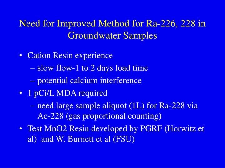 Need for improved method for ra 226 228 in groundwater samples