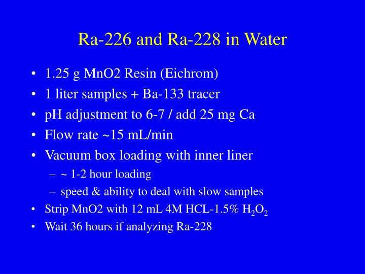 Ra 226 and ra 228 in water