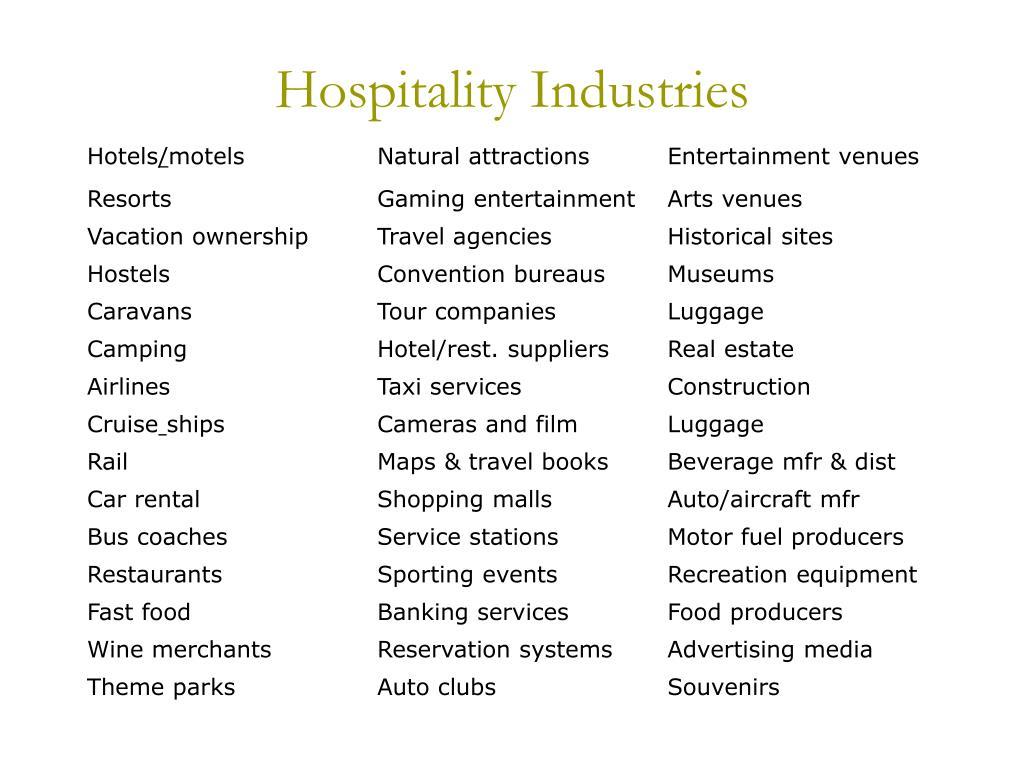 Hospitality Industries