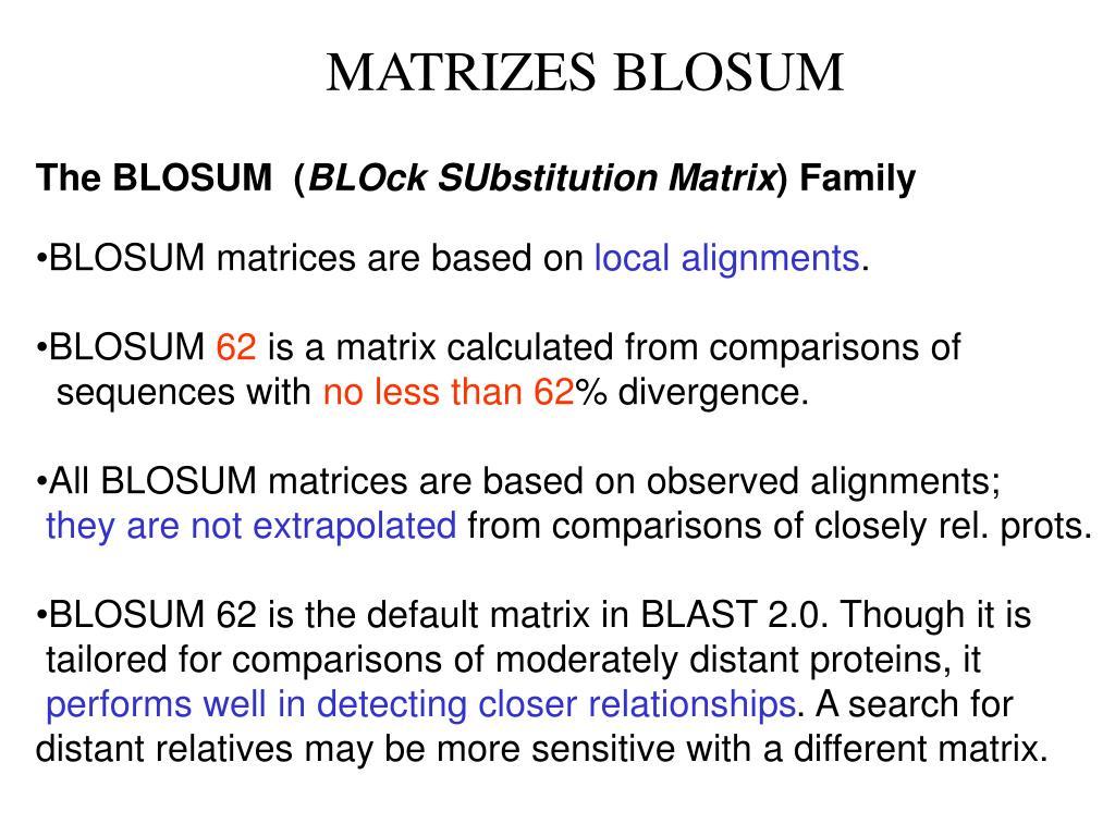 MATRIZES BLOSUM