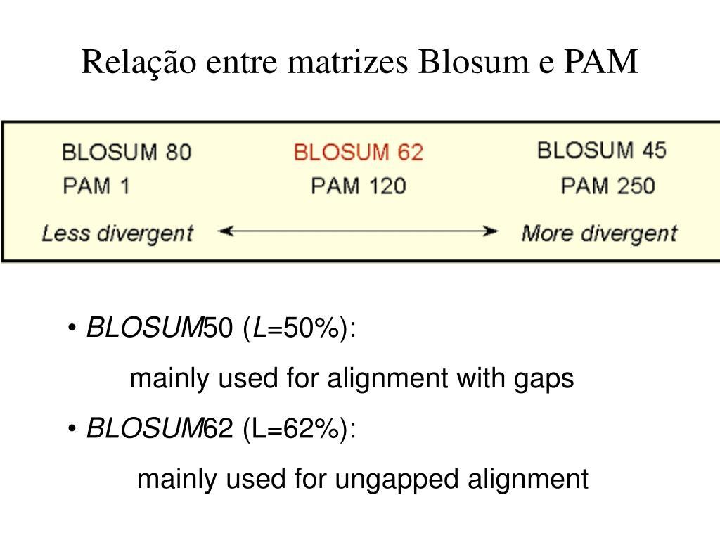Relação entre matrizes Blosum e PAM