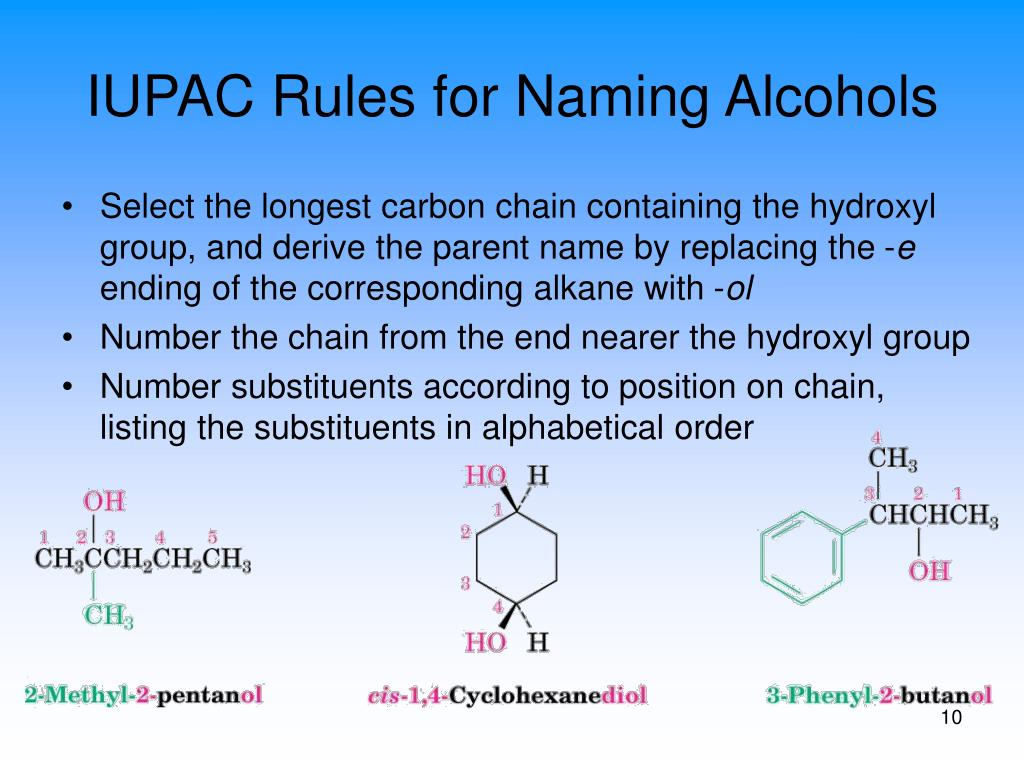IUPAC Rules for Naming Alcohols
