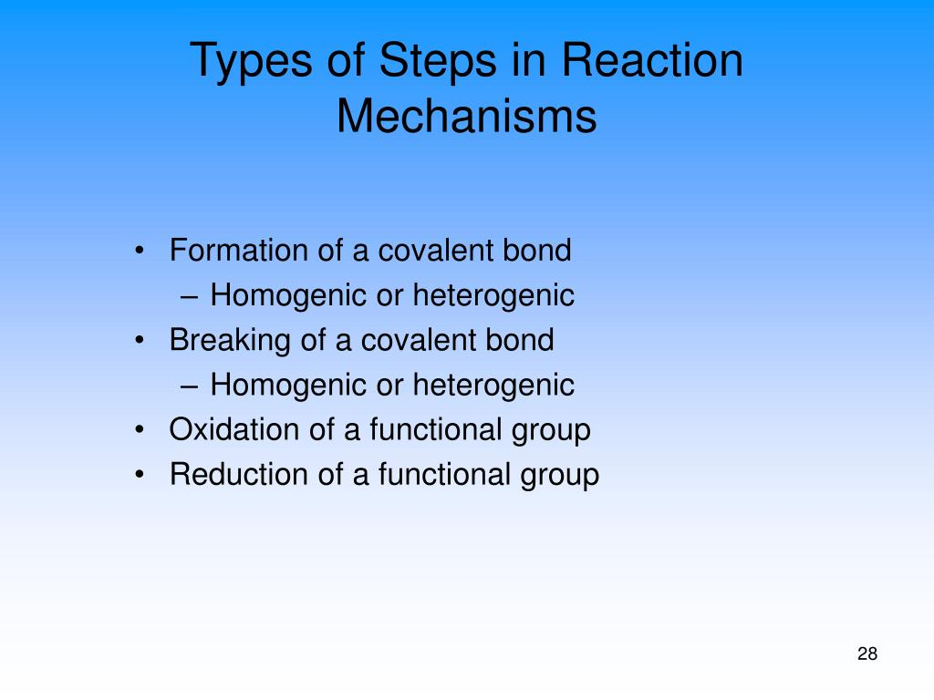 Types of Steps in Reaction Mechanisms