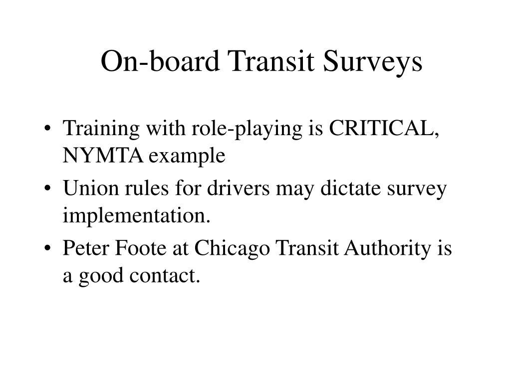 On-board Transit Surveys