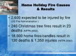 home holiday fire causes results