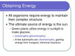 obtaining energy