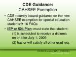 cde guidance cahsee exemption