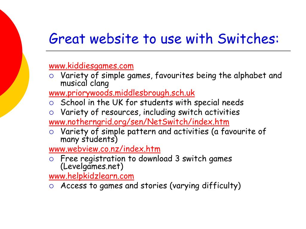 Great website to use with Switches: