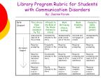 library program rubric for students with communication disorders by joanne parum