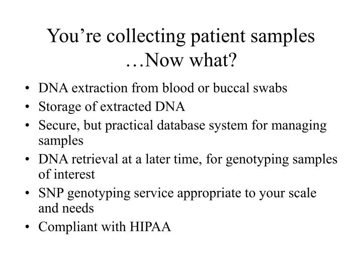 You re collecting patient samples now what