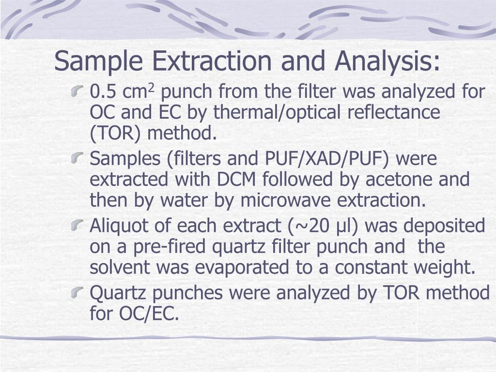 Sample Extraction and Analysis: