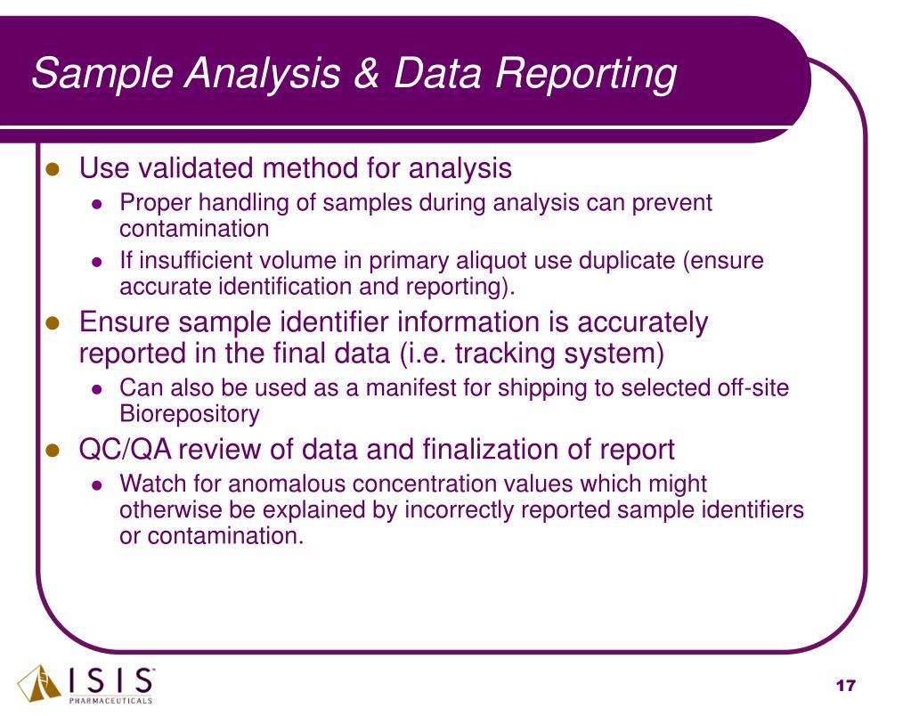 Sample Analysis & Data Reporting