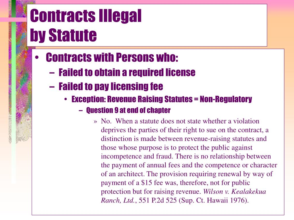 Contracts Illegal