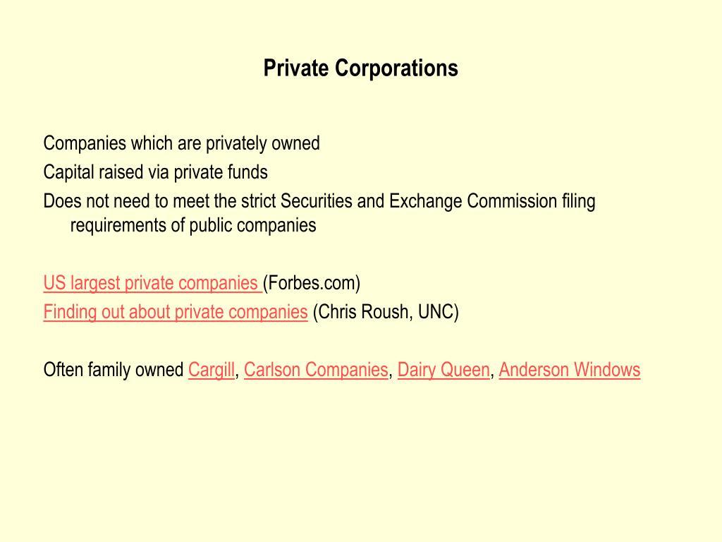 Private Corporations