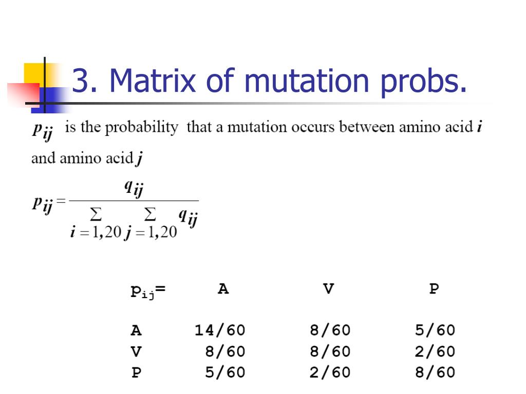 3. Matrix of mutation probs.
