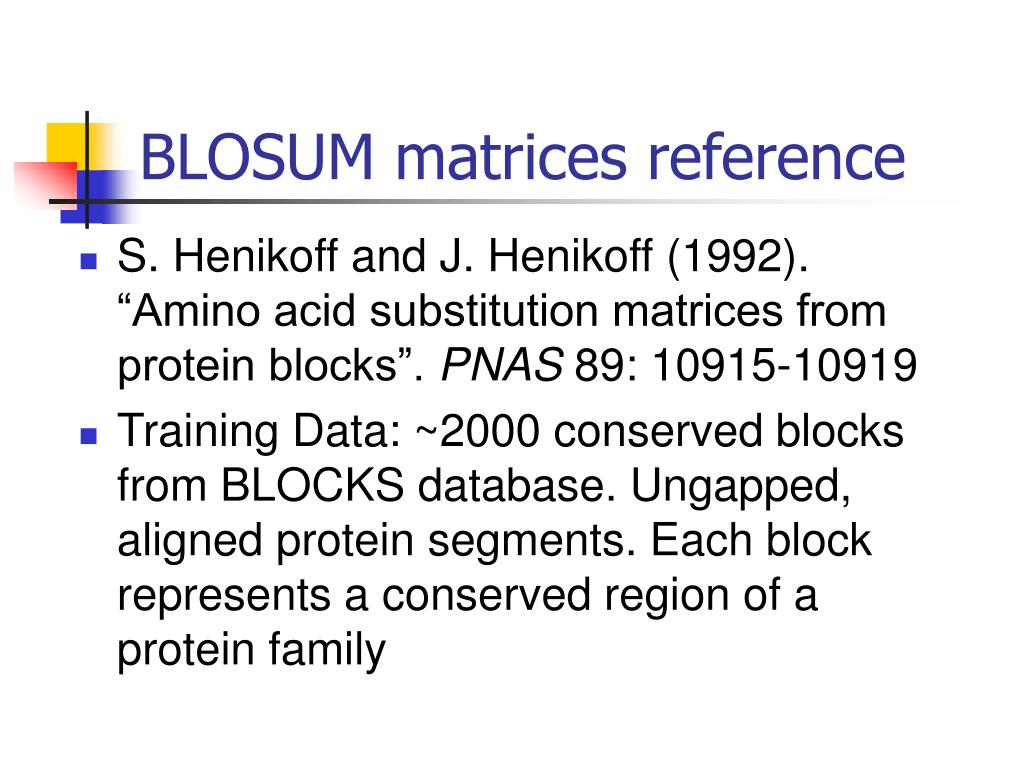 BLOSUM matrices reference