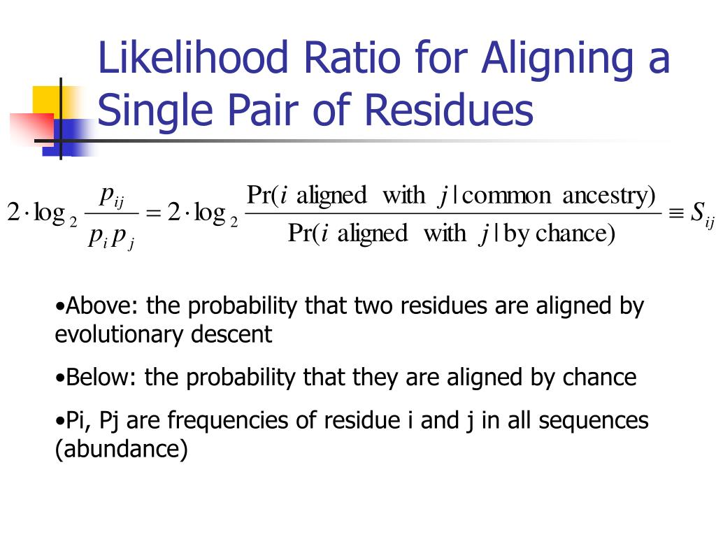 Likelihood Ratio for Aligning a Single Pair of Residues