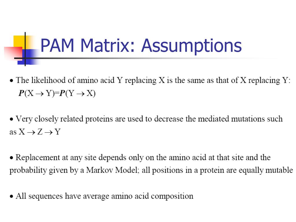 PAM Matrix: Assumptions