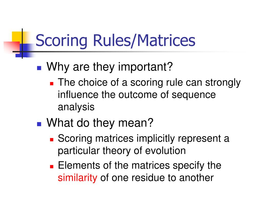 Scoring Rules/Matrices