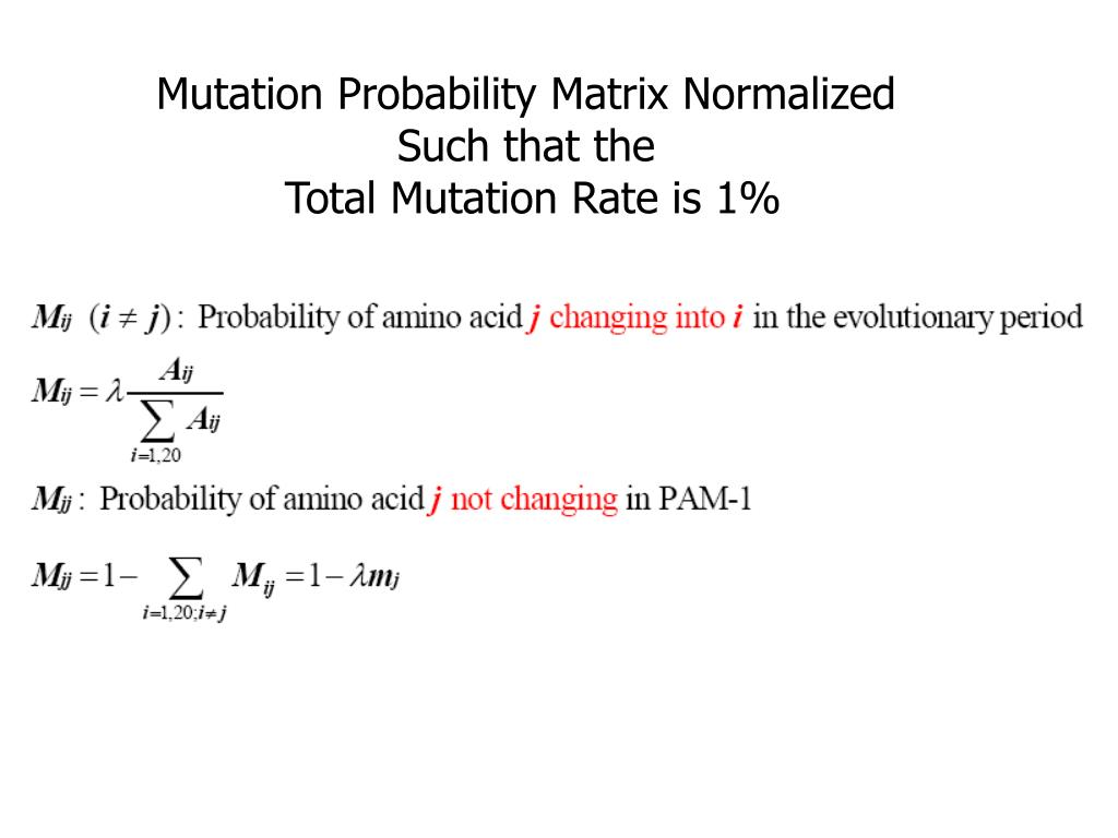 Mutation Probability Matrix Normalized