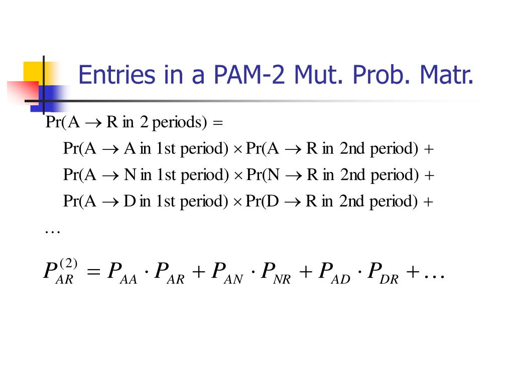 Entries in a PAM-2 Mut. Prob. Matr.