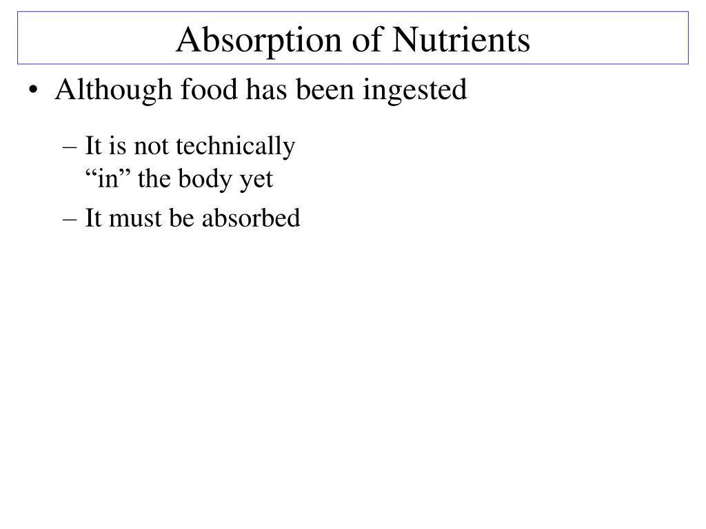 Absorption of Nutrients