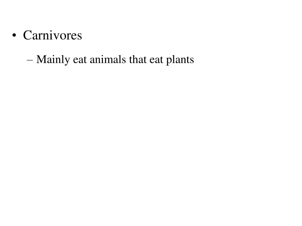 Mainly eat animals that eat plants