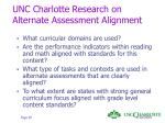 unc charlotte research on alternate assessment alignment