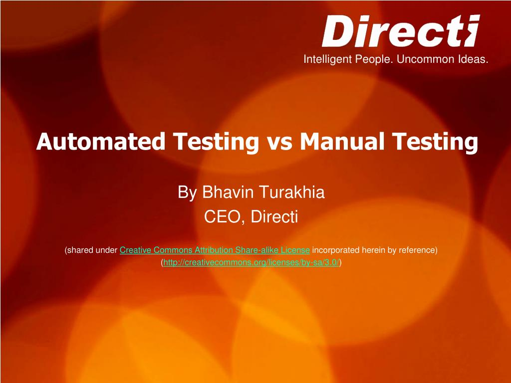 automated testing vs manual testing l.