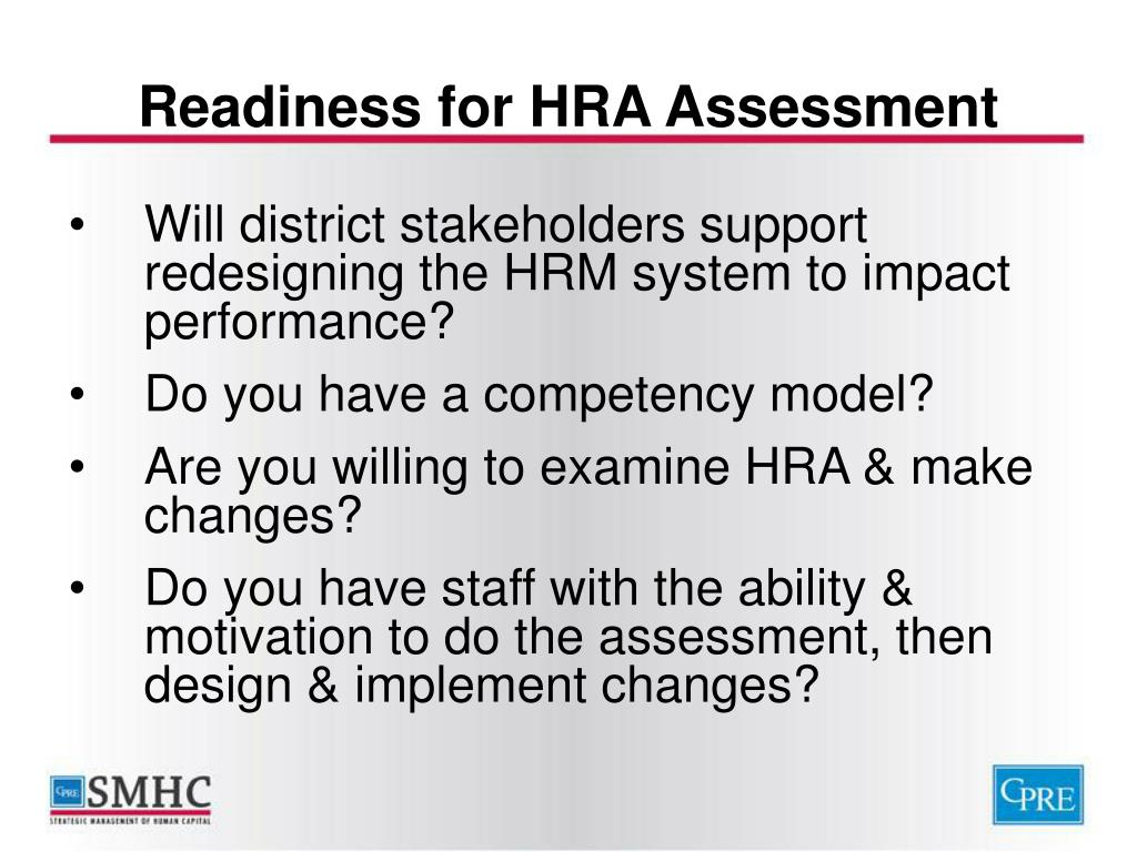 Readiness for HRA Assessment