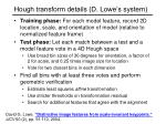 hough transform details d lowe s system