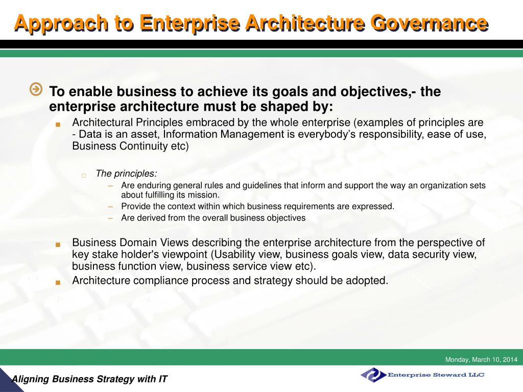 Approach to Enterprise Architecture Governance