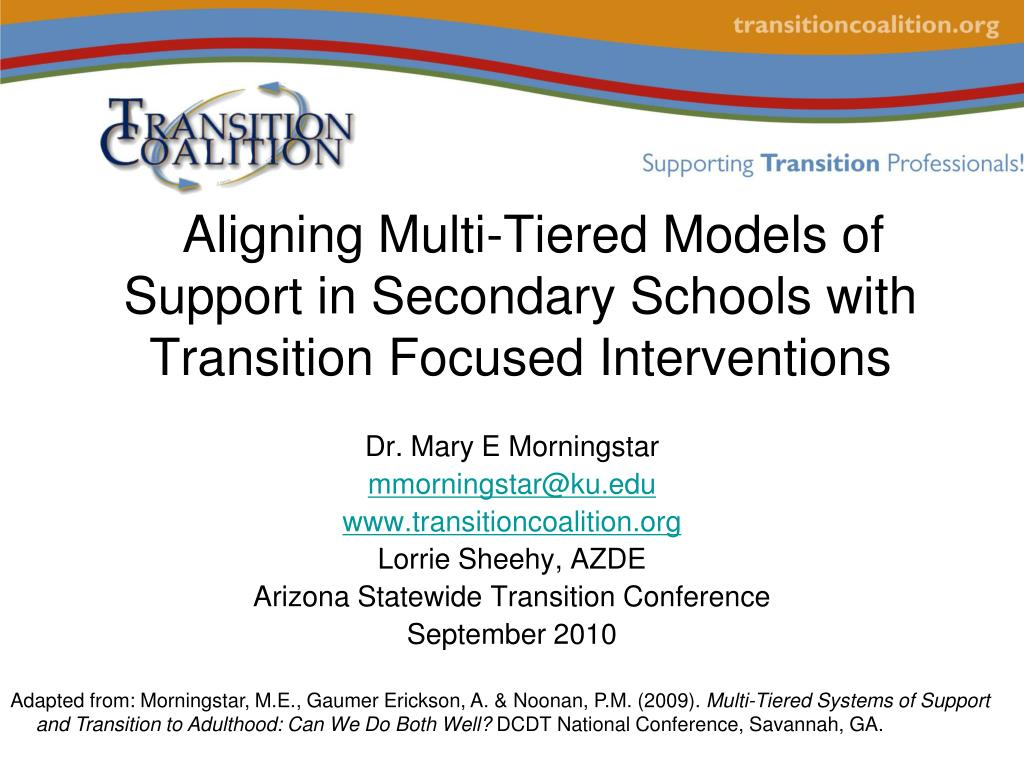 aligning multi tiered models of support in secondary schools with transition focused interventions l.