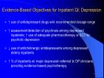 evidence based objectives for inpatient qi depression