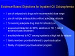 evidence based objectives for inpatient qi schizophrenia