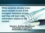 marzano building background knowledge for academic achievement 2004 pg 1