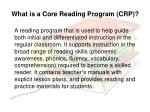what is a core reading program crp
