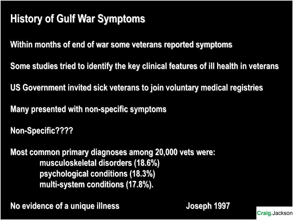 History of Gulf War Symptoms