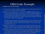 cba code example